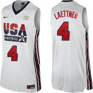 Maillot Nike Blanc 2012 Olympic Retro Authentic Team USA - Christian Laettner #4 - Homme