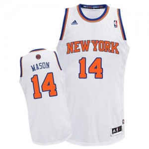 Maillot NBA New York Knicks #14 Anthony Mason Blanc Adidas Swingman Home - Homme