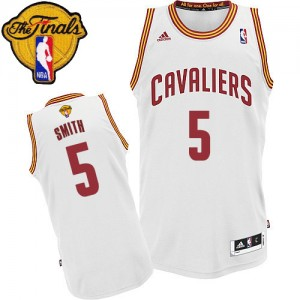 Maillot Adidas Blanc Home 2015 The Finals Patch Swingman Cleveland Cavaliers - J.R. Smith #5 - Homme