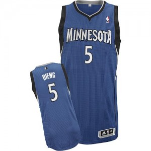 Minnesota Timberwolves Gorgui Dieng #5 Road Authentic Maillot d'équipe de NBA - Slate Blue pour Homme