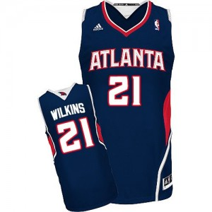 Maillot NBA Bleu marin Dominique Wilkins #21 Atlanta Hawks Road Swingman Homme Adidas