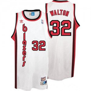 Portland Trail Blazers #32 Adidas Throwback Blanc Authentic Maillot d'équipe de NBA pas cher en ligne - Bill Walton pour Homme