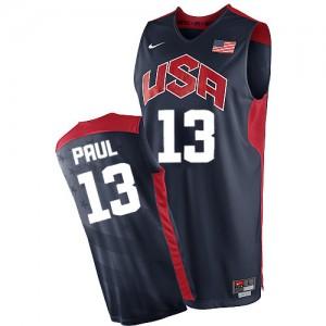 Maillot NBA Team USA #13 Chris Paul Bleu marin Nike Authentic 2012 Olympics - Homme