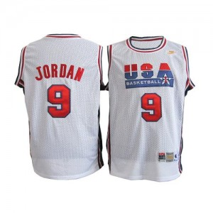 Team USA Nike Michael Jordan #9 Throwback Swingman Maillot d'équipe de NBA - Blanc pour Homme