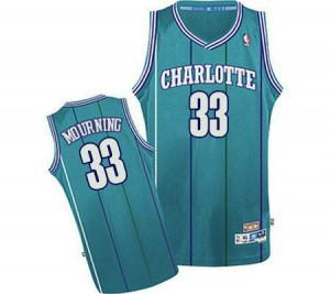 Maillot Authentic Charlotte Hornets NBA Throwback Bleu clair - #33 Alonzo Mourning - Homme