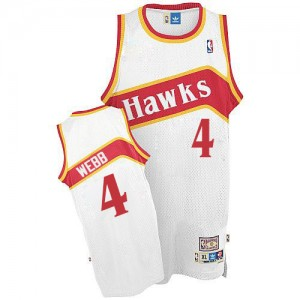 Maillot Adidas Blanc Throwback Authentic Atlanta Hawks - Spud Webb #4 - Homme
