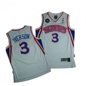 Maillot Swingman Philadelphia 76ers NBA 10TH Throwback Blanc - #3 Allen Iverson - Homme
