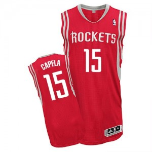 Houston Rockets #15 Adidas Road Rouge Authentic Maillot d'équipe de NBA Promotions - Clint Capela pour Homme