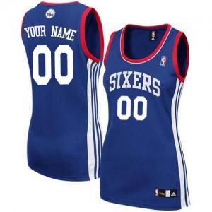 Maillot NBA Bleu royal Authentic Personnalisé Philadelphia 76ers Alternate Femme Adidas