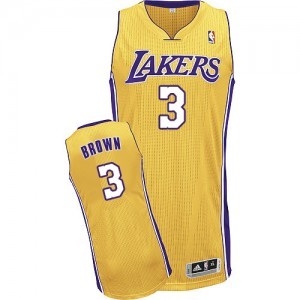 Maillot Authentic Los Angeles Lakers NBA Home Or - #3 Anthony Brown - Homme