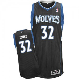 Maillot NBA Minnesota Timberwolves #32 Karl-Anthony Towns Noir Adidas Authentic Alternate - Homme