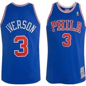 Maillot Mitchell and Ness Bleu Throwback Authentic Philadelphia 76ers - Allen Iverson #3 - Homme