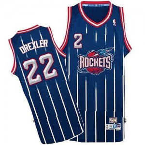 Houston Rockets #22 Adidas Throwback Bleu marin Authentic Maillot d'équipe de NBA Peu co?teux - Clyde Drexler pour Homme