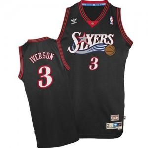 Maillot NBA Philadelphia 76ers #3 Allen Iverson Noir Adidas Swingman - Enfants