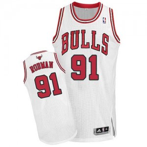 Maillot NBA Blanc Dennis Rodman #91 Chicago Bulls Home Authentic Homme Adidas