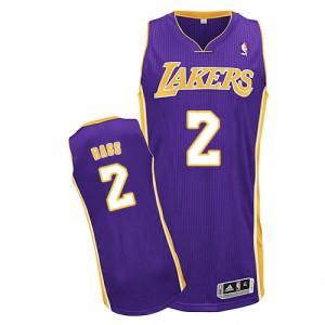 Los Angeles Lakers Brandon Bass #2 Road Authentic Maillot d'équipe de NBA - Violet pour Homme