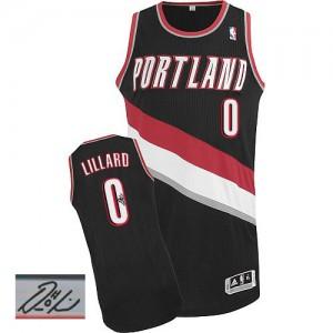 Maillot NBA Authentic Damian Lillard #0 Portland Trail Blazers Road Autographed Noir - Homme