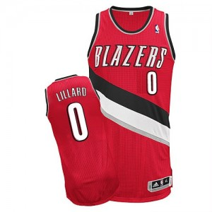 Maillot NBA Rouge Damian Lillard #0 Portland Trail Blazers Alternate Authentic Homme Adidas