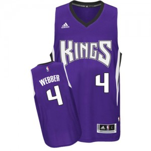 Maillot NBA Violet Chris Webber #4 Sacramento Kings Road Swingman Homme Adidas