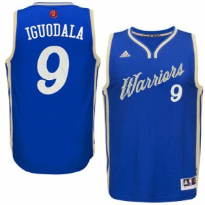 Maillot NBA Authentic Andre Iguodala #9 Golden State Warriors 2015-16 Christmas Day Bleu royal - Homme