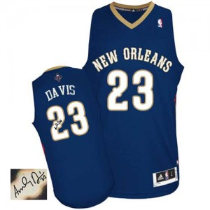 Maillot NBA New Orleans Pelicans #23 Anthony Davis Bleu marin Adidas Authentic Road Autographed - Homme