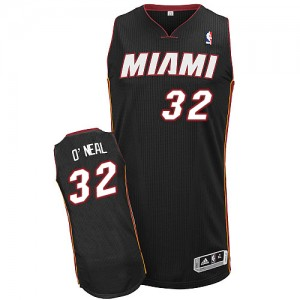 Maillot NBA Miami Heat #32 Shaquille O'Neal Noir Adidas Authentic Road - Homme