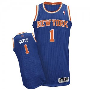 Maillot NBA New York Knicks #1 Alexey Shved Bleu royal Adidas Authentic Road - Homme