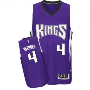 Maillot NBA Sacramento Kings #4 Chris Webber Violet Adidas Authentic Road - Homme