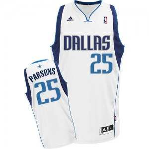 Maillot NBA Blanc Chandler Parsons #25 Dallas Mavericks Home Swingman Homme Adidas
