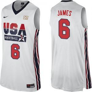 Maillot NBA Blanc LeBron James #6 Team USA 2012 Olympic Retro Authentic Homme Nike