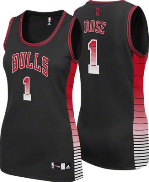 Maillot NBA Authentic Derrick Rose #1 Chicago Bulls Vibe Noir - Femme
