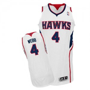 Maillot Adidas Blanc Home Authentic Atlanta Hawks - Spud Webb #4 - Homme