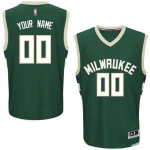 Maillot NBA Milwaukee Bucks Personnalisé Authentic Vert Adidas Road - Femme