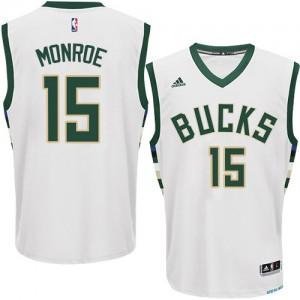 Milwaukee Bucks #15 Adidas Home Blanc Authentic Maillot d'équipe de NBA vente en ligne - Greg Monroe pour Homme