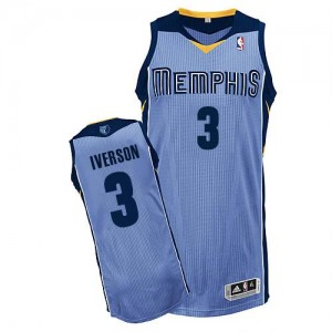 Maillot NBA Bleu clair Allen Iverson #3 Memphis Grizzlies Alternate Authentic Homme Adidas