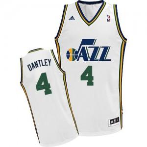 Utah Jazz #4 Adidas Home Blanc Swingman Maillot d'équipe de NBA en soldes - Adrian Dantley pour Homme